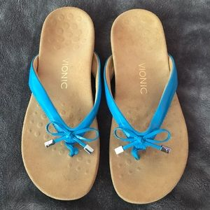 Vionic Bella Turquoise Bow Thong Sandals, 9, NEW